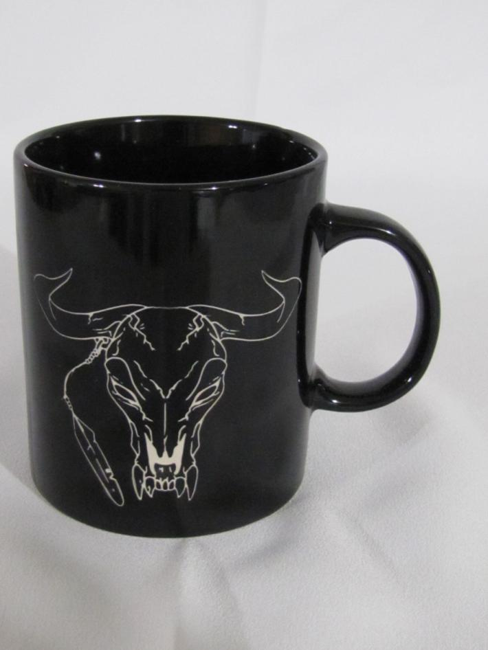 Coffee mug with Cow Skull design Medium size Black