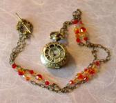 Steampunk Miniature Pocket Watch Necklace