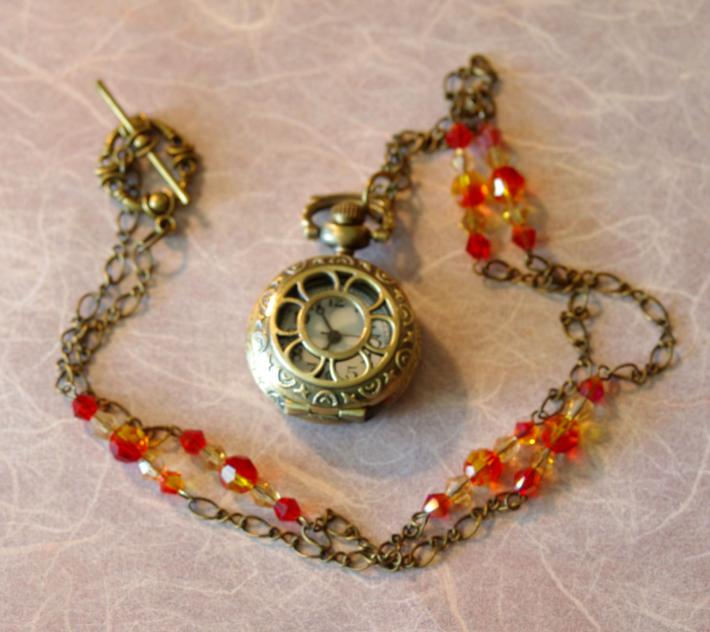 Steampunk Miniature Pocket Watch Necklace
