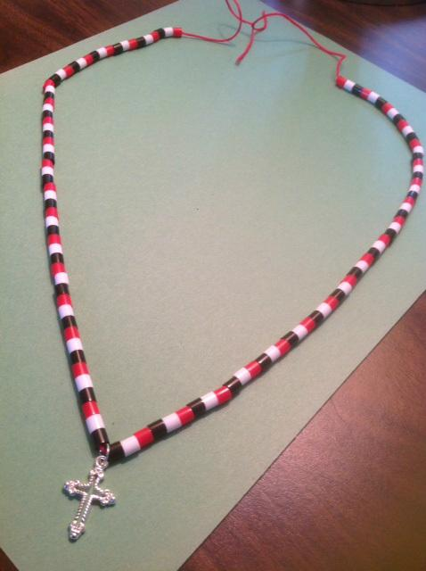 Checkerboard Beaded Silver Cross Necklace