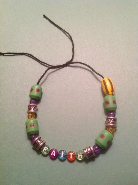 Wooden and Silver Bead FAITH Bracelet