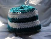 Dark Teal and White Striped Crocheted Hat