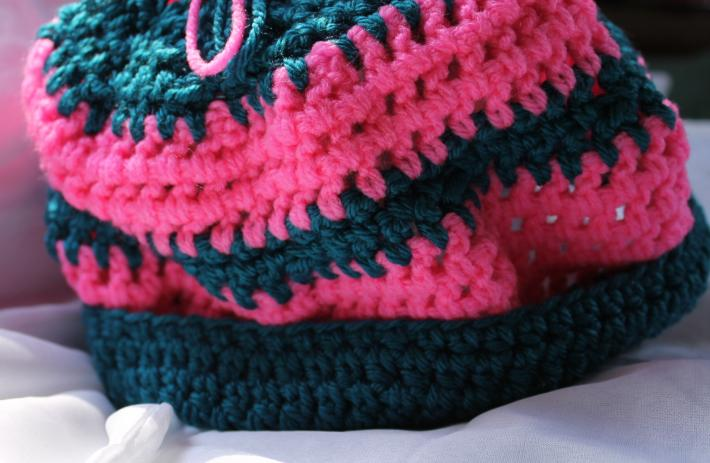 Dark Teal and Hot Pink Crocheted Hat with Fringes