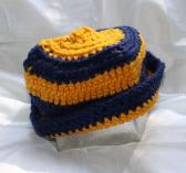 Gold and Dark Blue Striped Crocheted Hat
