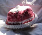 Dusty Rose and White Crocheted Hat