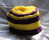 Yellow and Purple Striped 20 Inch Crocheted Hat