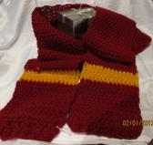 Burgundy and Gold Crocheted Scarf