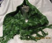 Variegated Greens Crocheted Scarf with Fringes