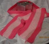 Hot Pink and Light Pink Crocheted Scarf