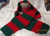 Red and Green Crocheted Striped Scarf