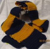 Blue and Gold Striped Crocheted Scarf