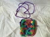 Variegated Blue Green Orange Yellow Crocheted Cellphone Tote