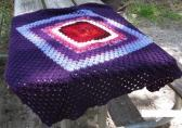 Purple and Multicolored Pattern Afghan