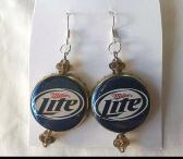 Miller Lite Red White Blue and Light Brown Gold Saucer Bead Upcycled Bottlecap Earrings