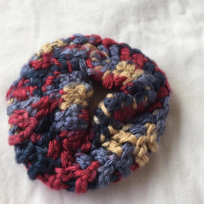 Variegated Blues and Browns Crocheted Scrunchie