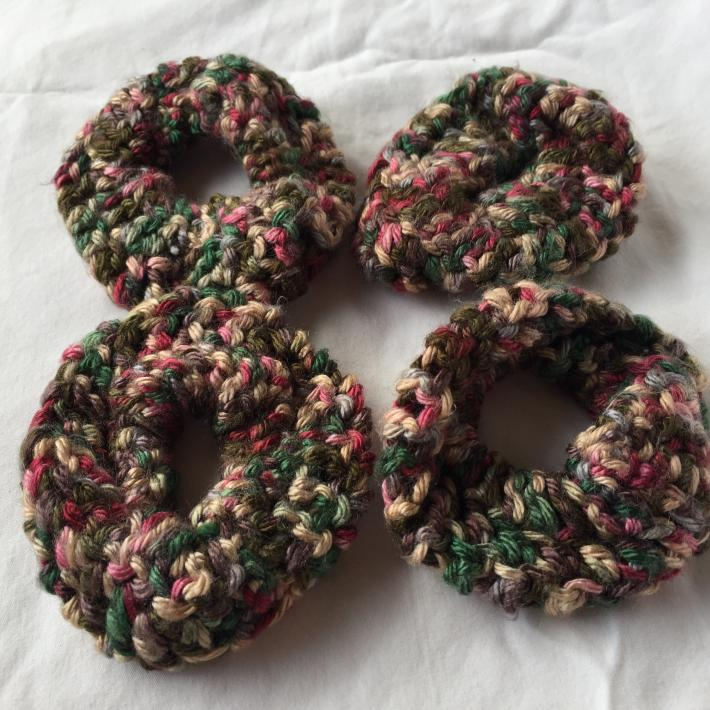 Variegated Green and Beige Crocheted Scrunchie
