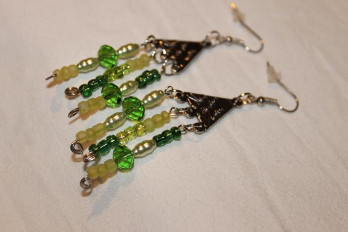 Dark and Light Green Crystals and Pearls Chandelier Earrings