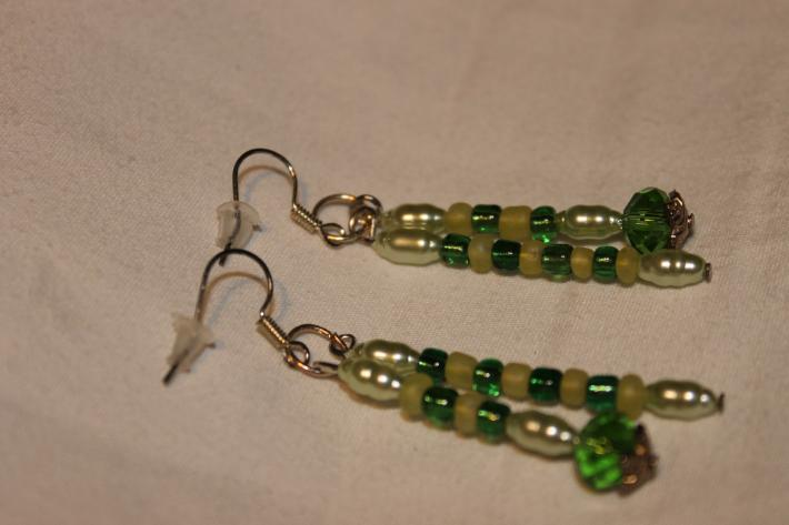 Dark Green Swarovski Crystals and Light Green Pearl Double Pin Earrings