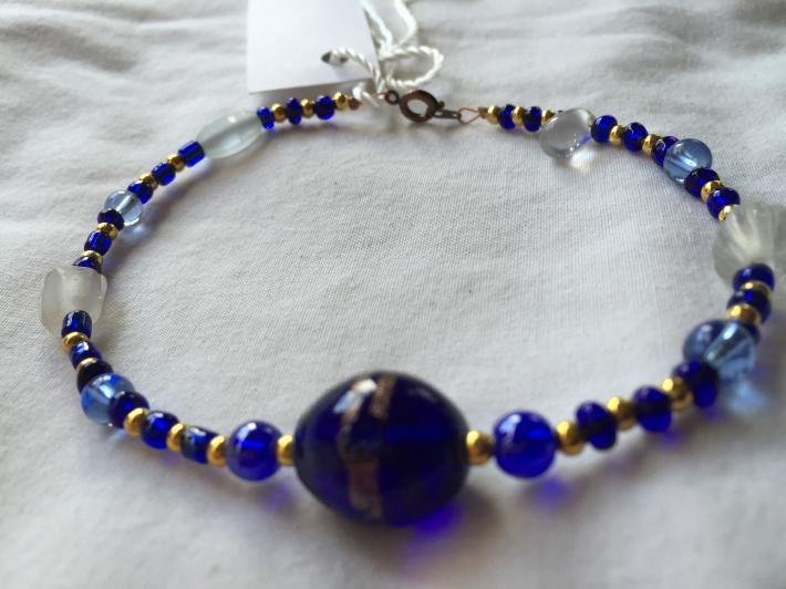 Blue Gold and White Frosted Glass Bead 10 Inch Anklet Bracelet