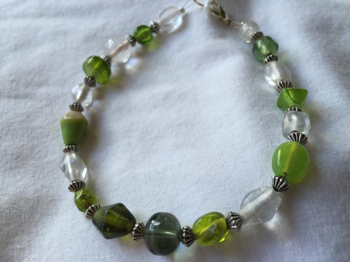 Dark and Light Green Clear Beaded Tibetan Saucer Bead 8 Inch Bracelet