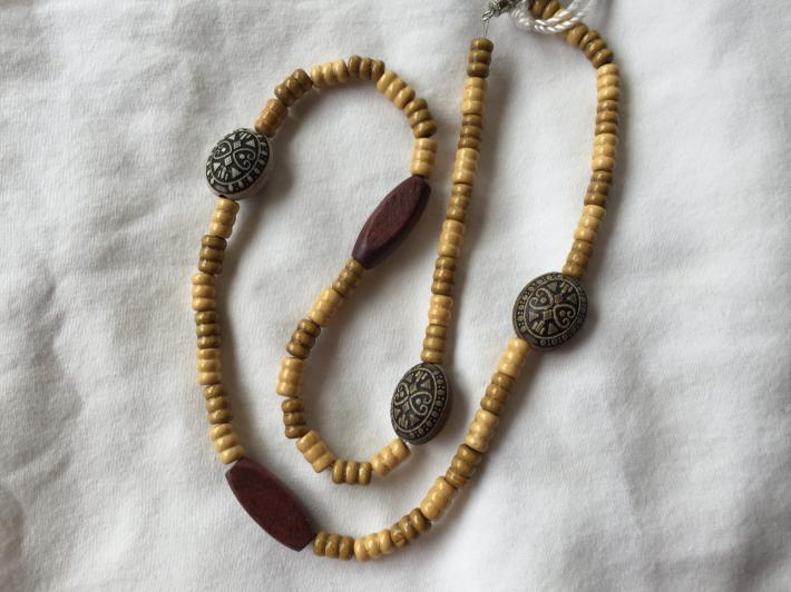 Blond and Brown Wood Tube Bead with Black and Gray Tribal Beads 22 Inch Necklace
