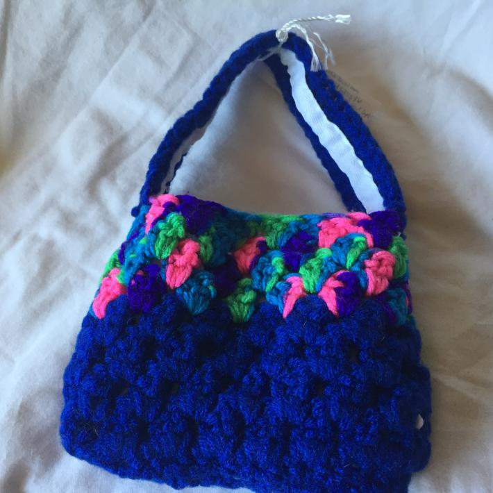 Dark Blue and Variegated Jewel Tone 4x6 Crocheted Kids Cellphone Tote With White Lining