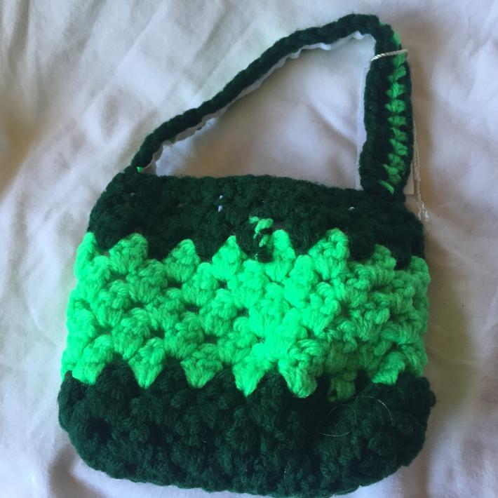 Dark and Lime Green Crocheted Kids 5x6 Cellphone Tote with White Lining
