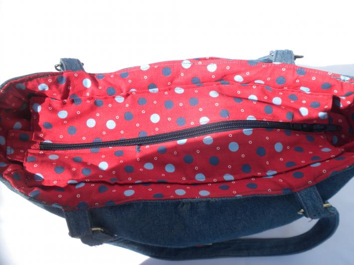 Hand made Flirty bowed Purse Sturdy denim and flirty red bow makes a great purse zippered inside pocket denim handbag