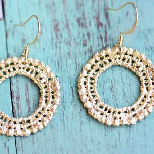 Gold Crochet Circle Earrings HA
