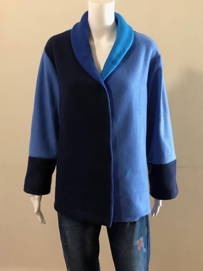 Color Blocking Fleece Coat