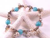 Vintage Style Amazonite and Vintage Pearl Bracelet