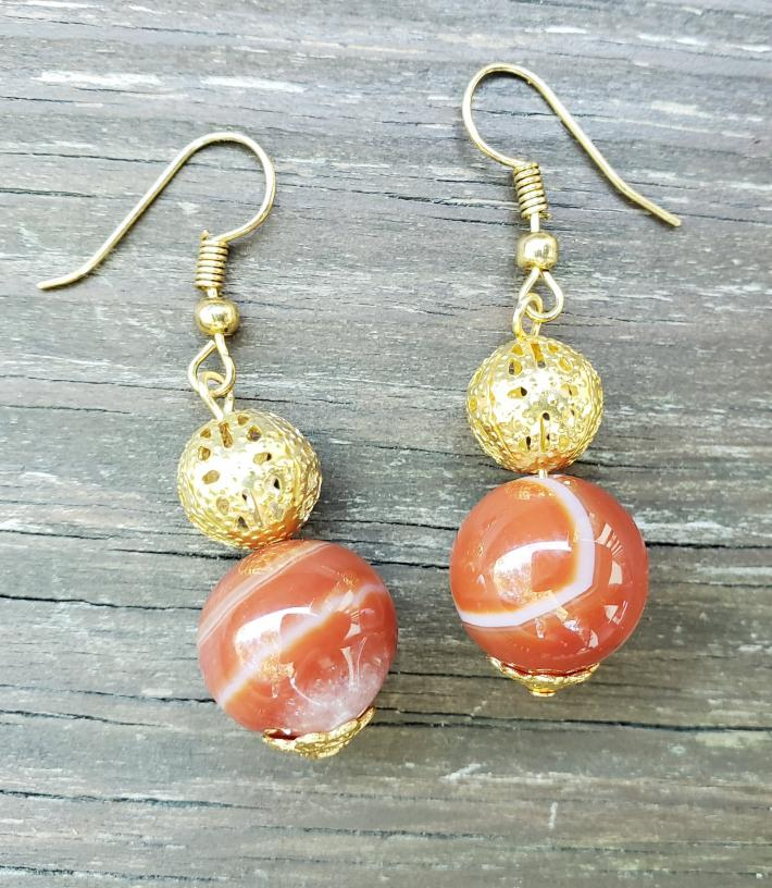 Red Agate and Gold Beaded Earrings