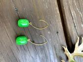 Green Bead Wire Earrings