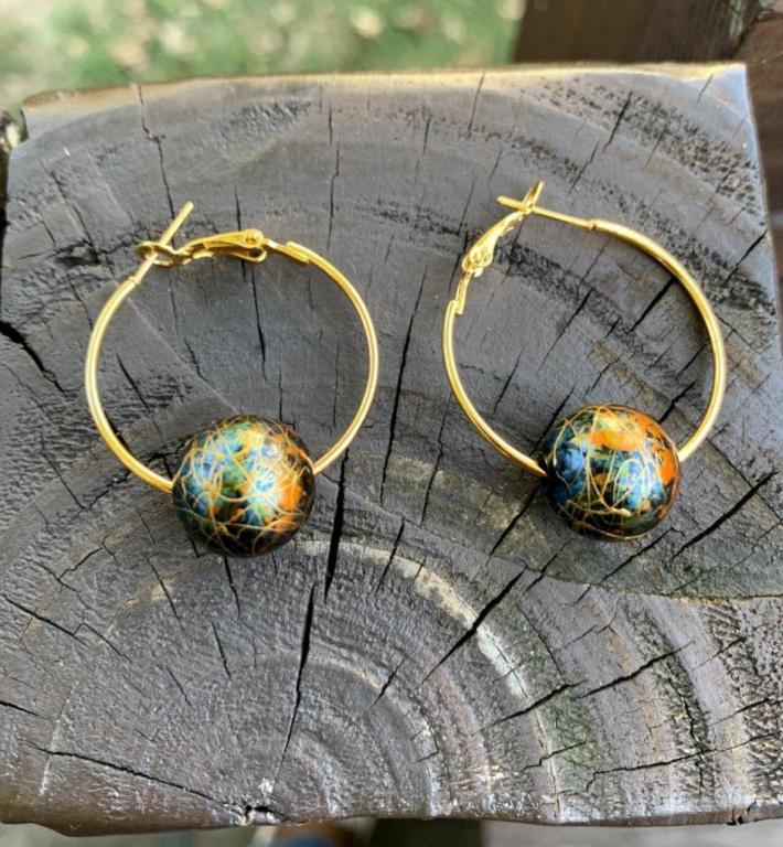 Blue Marbled Gold Hoop Earrings