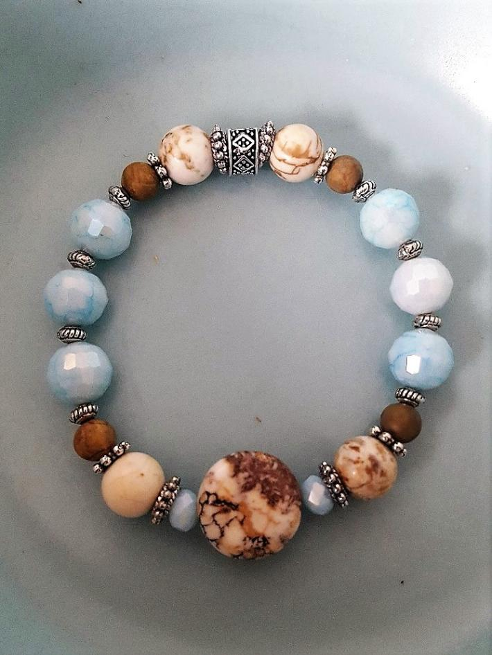 Tan and Turquoise Bracelet