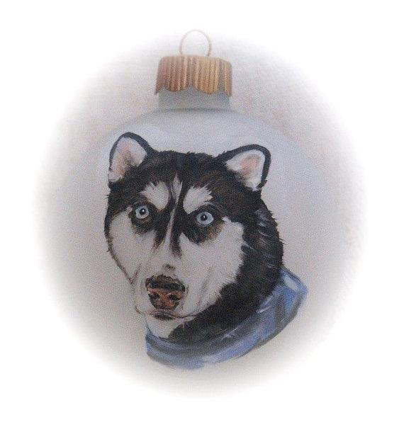 Memorial dog portrait painting dog ornament