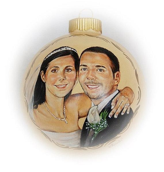 Wedding Portrait Custom Wedding Portrait Painting on Ornament
