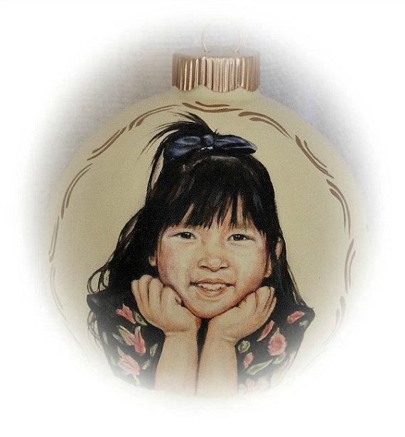 Custom portraits children portrait painting ornament