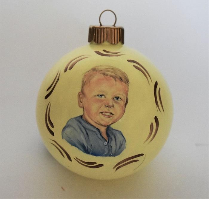 Custom portraits children portrait painting ornament