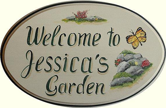 Custom garden sign hand painted garden plaque