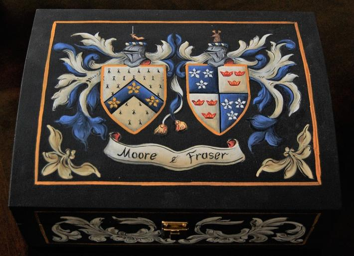 Coat of Arms Wedding Gift Custom Hand Painted Family Crest Wedding Box