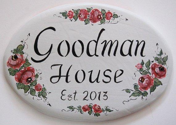 Hand painted ceramic house plaque address sign