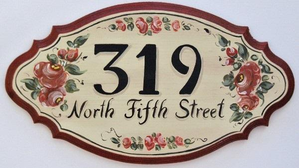 Hand Painted Address House Plaque Name Plaques Rose Design