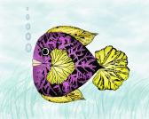 Childrens Fish Art Print Purple fish  Nursery  Art