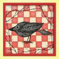Folk Art Bird Art Print Raven