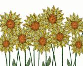 Folk Art Flower Print  Sunflowers