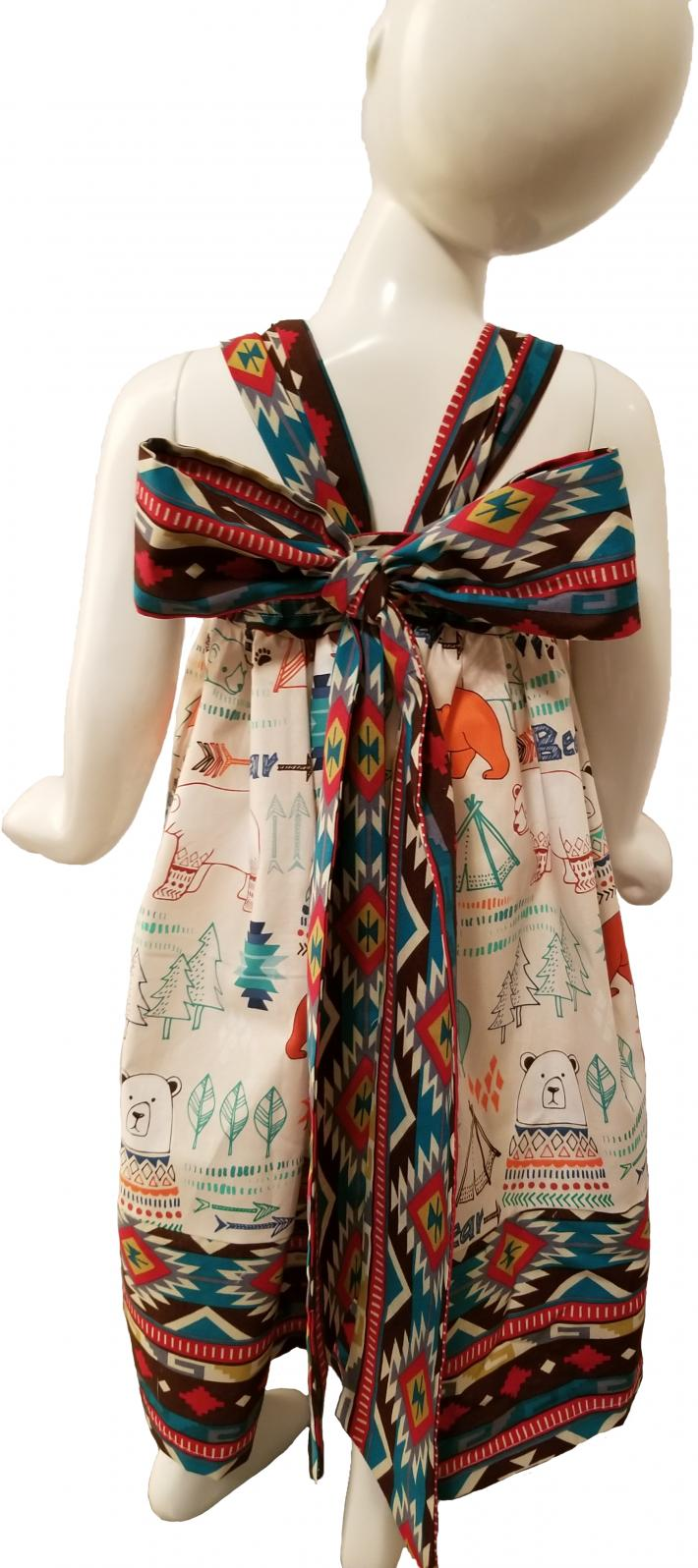 Bear Aztec Print Bow Dress