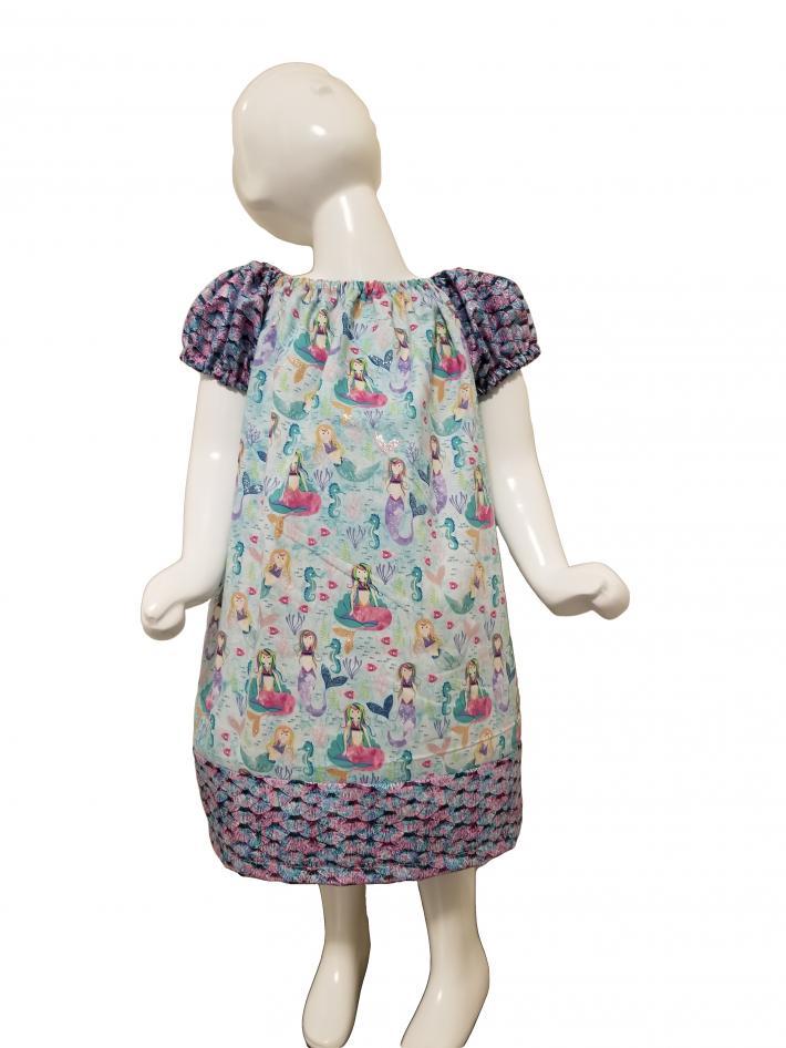 Mermaid Print Peasant Dress