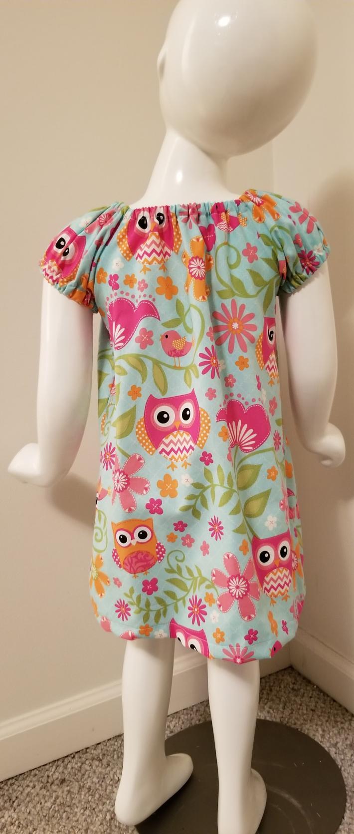 Owl Print Peasant Dress