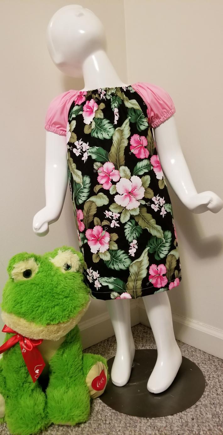 Hibiscus Print Peasant Dress